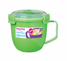 Sistema Lime Green Klip It Microwave Soup To Go Mug 565ml Clip Lid Lunch Work