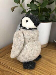 Gisela Graham Christmas mixed wool cute baby penguin decoration 15cm