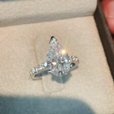14K White Gold Over Diamond Engagement & Wedding Ring Set 2.5 Carat Pear Shaped