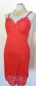 Sexy Red Lace Vtg Van Rallte Full Pin Up Nylon Lingerie Slip, Size Small 34