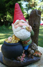 #3 COIN DEALER GNOME W/POT of GOLD CEMENT STATUE HAND PAINTED CONCRETE