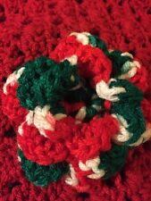 CROCHETED FLOWER FOR DOG COLLAR OR Costume Accessory Christmas Colors