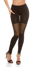 Sexy Basic Leggins Leggings Legging Hose mit transparentem Mesh Schwarz 34 36 38