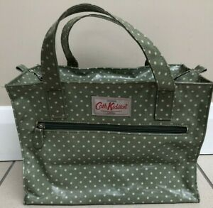 Cath Kidston Oil Cloth Small Tote Bag Green/Cream Polka Dot, Fixed Handles