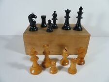 "VINTAGE ART DECO CHESS SET STAUNTON PATTERN 2½"" KING PLUS BOX NO BOARD"
