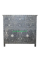 Handmade Bone Inlay Black Floral Chest of Drawer 6 Drawer 2 Door