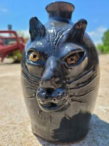 One of a Kind Black Cat Face Jug by Billy Joe Craven