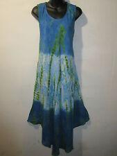 Dress Fits Plus 1X 2X 3X 4X Plus Sundress Blue Green Tie Dye Floral NWT BR 97