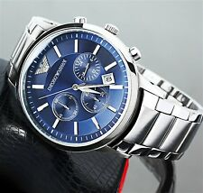 NEW GENUINE EMPORIO ARMANI MENS AR2448 WATCH BLUE DIAL STAINLESS STEEL UK