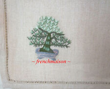 4 Yves Delorme Paris French Napkins 100% Linen Embroidered Bonsai Tree New