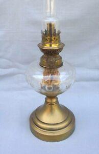 French Cut Crystal Brass Oil Kerosene Lamp Kosmos Burner 1900