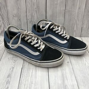 Women's Vans Old Skool Navy Blue White Suede Canvas Trainers - UK Size 5