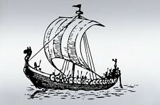 "Vinyl Wall Decal Sticker Viking Ship Boat 25""x20"""