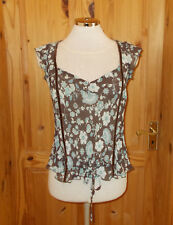 PILOT chocolate brown aqua green ivory floral chiffon short sleeve tunic top 12