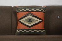 Indian Kilim Jute Cushion Cover 18x18 Hand Woven Throw Rustic Pillows Case 1180
