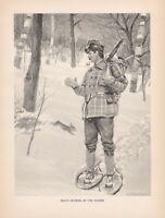 2 Original Antique Adirondack Mountain Winchester 94 Hunting Prints: Watson 1907
