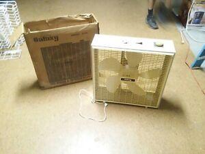 "Vintage Galaxy 3714 20"" 2-Speed Box Fan w/ Box Window Runs"