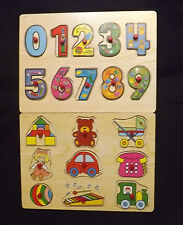 Lot of 2 Wooden puzzles, Numbers and  Toys