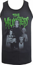 MENS FITTED VEST TANK MEET THE MUNSTERS VINTAGE B-MOVIE HORROR WOLF VAMPIRE GOTH
