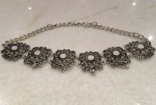 Zara Choker Necklace, Silver With Pearlised Rhinestone,