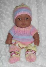 """Berenguer 13"""" Lots to Love A/A Unisex Baby In Brand New Hand Knit 4 Piece Outfit"""