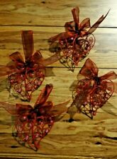 Red Puffy Wire Beaded Heart Ornaments Set Of 4