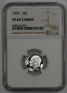 1957 PROOF ROOSEVELT DIME 10C NGC CERTIFIED PF 69 CAMEO (005)