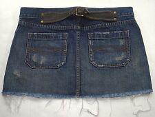 ABERCROMBIE & FITCH sz 4 Jean Mini Skirt Cinch Buckle Dark Wash Distressed Denim