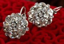 Earrings Diamante Flower Pierced E40 Stylish Clear Rhinestone Silver Hoop Stud