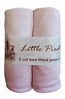 2 x Baby Cot Fitted sheet 60x120 100% cotton jersey BNIP Pink