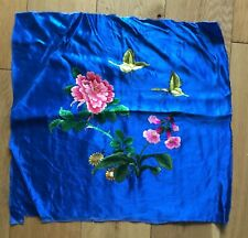 Vintage Chinese Royal Blue Silk Flower & Butterfly Embroidery Embroidered Panel