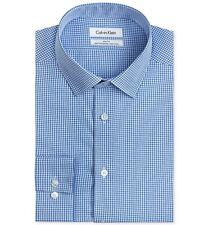 $93 CALVIN KLEIN Men SLIM-FIT WHITE BLUE LONG-SLEEVE BUTTON DRESS SHIRT 16 34/35