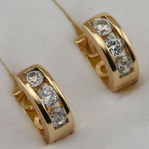 Cute Nice Three White CZ Jewelry Yellow Gold Filled Huggie Woman Earrings h2643