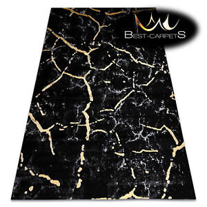 """Modern Stylish Rug """"GLOSS"""" marble, nature, glamour, black / gold Best Quality"""