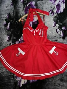 Hell Bunny Vixen Matrosen Kleid Rot Rockabilly 60er Damen M