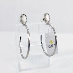 New Kendra Scott Small Pepper Hoop Earrings In Ivory Shell / Silver