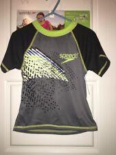 NWT Speedo Kids Size Small 1-2 Years UV Sun Shirt Swim Top Gray Black UN50+  2T