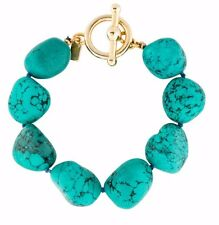Kenneth Jay LANE KJL COLLECTION Turquoise Bead Gold Bangle Bracelet Cuff NEW