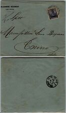 SMYRNE-OCCUPAZIONE TEDESCA-1 piaster su 20p-Busta SMYRNA->Torino 13.2.1902