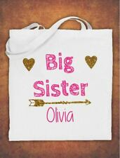 Personalised Big Sister Birthday Gift kids Tote Bag children's Cotton White