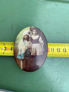 ancien petit miroir de poche décor personnages années 20 alsacien dans son jus