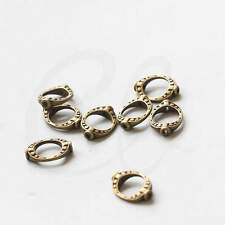 20pcs Antique Brass Tone Base Metal Bead Frame-Two Holes-Cut Oval 35836Y-V-54