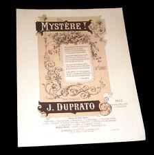 mystère ! mélodie partition chant piano 1888 Duprato