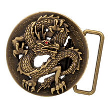 Bronze 3D Ancient Chinese Dragon Design Belt Buckle Tattoo Hip Metal Circle