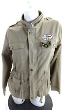 ACTIVE USA WOMENS KHAKI COTTON SNAP & ZIP FRONT CASUAL JACKET SIZE M