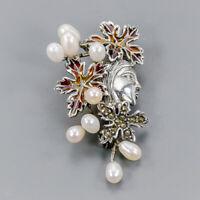 Pearl Brooch Silver 925 Sterling Enamel Design Jewelry /NB08862