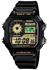Casio Classic Watch * AE1200WH-1BV Digital Chrono Black & Gold Resin COD PayPal