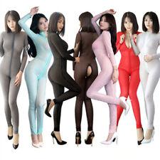 Women Sexy Striped Sheer Bodysuit Bodycon Catsuit Two Way Zipper Romper Jumpsuit