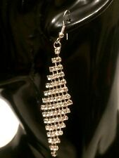 STATEMENT Silver Big Large Hook Drop Dangle Earrings Crystal Diamante Rhinestone
