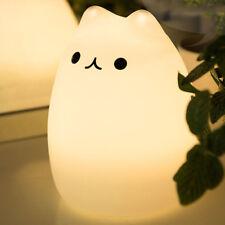 Lampe Décoratif Chat Mignon Silicone Lumière Automatique 7 Couleurs Changeant